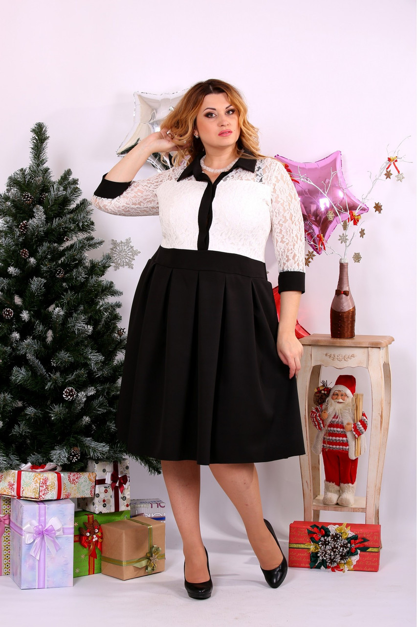 Женское платье с пышной юбкой  0659 цвет черно-белый / размер 42-74 / большой размер