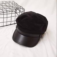 Женский картуз, кепи, фуражка плюшевый с козырьком из кожзама черный, фото 1