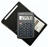 Калькулятор + обложка пвх citizen lc-210, карманный формат, 8 разрядов, питание от литиевой батарейки