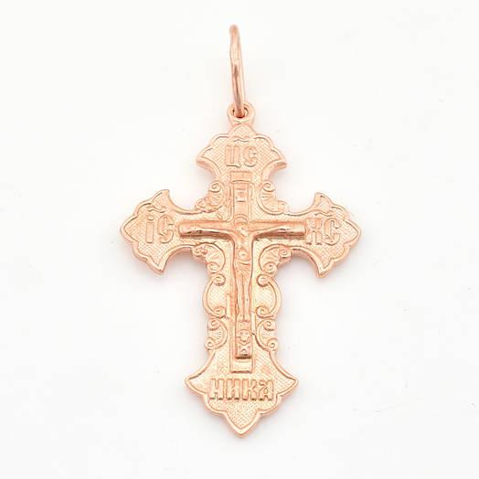 Серебряный крестик, размер 40*22 мм, вес серебра 3.21 г, позолота 375 пробы РО