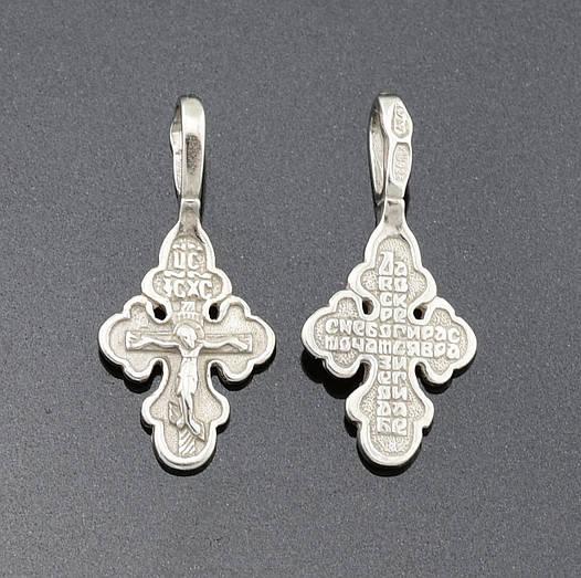 Серебряный крестик, размер 19*9 мм, вес серебра 0.55 г