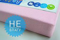 Простынь (наматрасник) на резинке из махры водонепроницаемая розовая