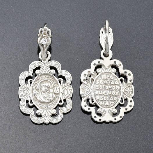 """Серебряная иконка """"Богородица"""", размер 24*13 мм, вес серебра 1.6 г"""