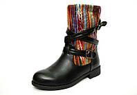 Женские ботинки сапоги зимние на меху черные с пряжками, фото 1