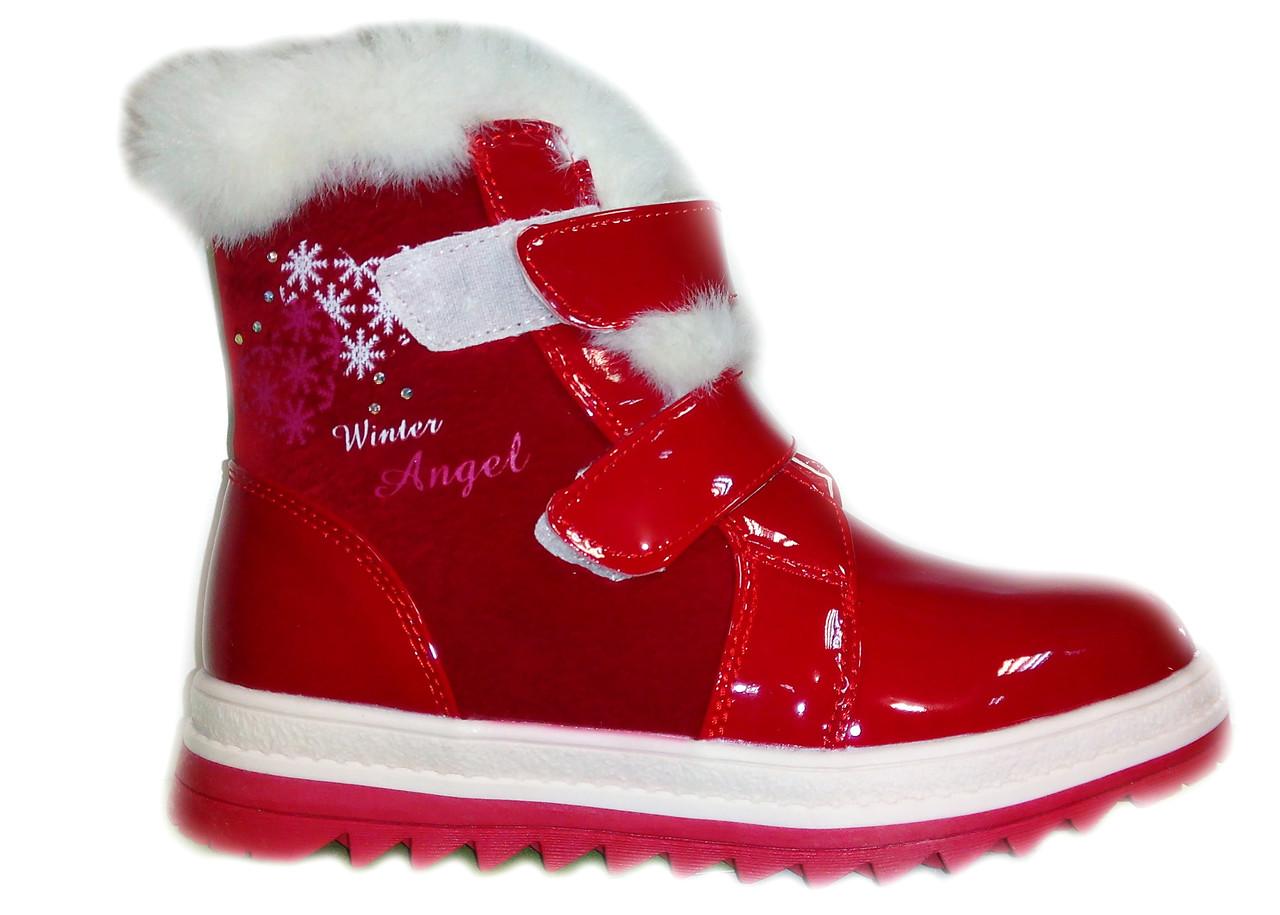 Модные зимние ботинки для девочки с натуральной опушкой, 33-37 36