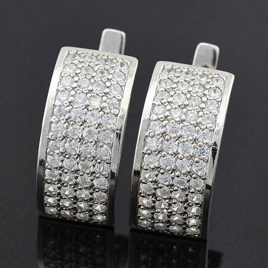 """Серебряные серьги """"Пасаж"""", размер 23*8 мм, вес серебра 4.83 г"""