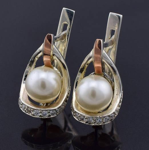 """Серебряные серьги с золотыми пластинами """"Улыбка"""", размер 17*9 мм, серебро 4.38 г, золото 0.06 г"""