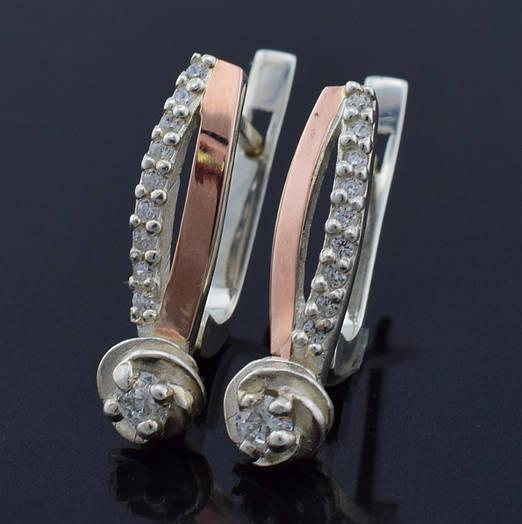 """Серебряные серьги с золотыми пластинами """"Роза"""", размер 21*5 мм, серебро 3.59 г, золото 0.06 г"""
