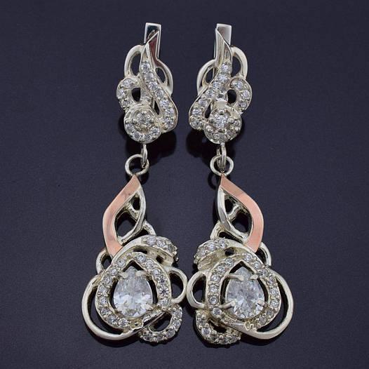 """Серебряные серьги с золотыми пластинами """"Гера"""", размер 51*17 мм, вставка белые фианиты, вес 14.01 г"""