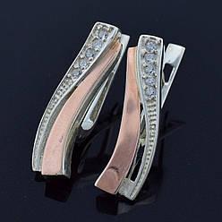 """Серебряные серьги с золотыми пластинами """"Кипарис"""", размер 22*6 мм, серебро 3.95 г, золото 0.16 г"""