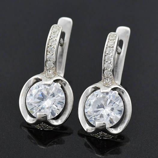 """Серебряные серьги """"Максима"""", размер 20*10 мм, вес серебра 3.8 г"""