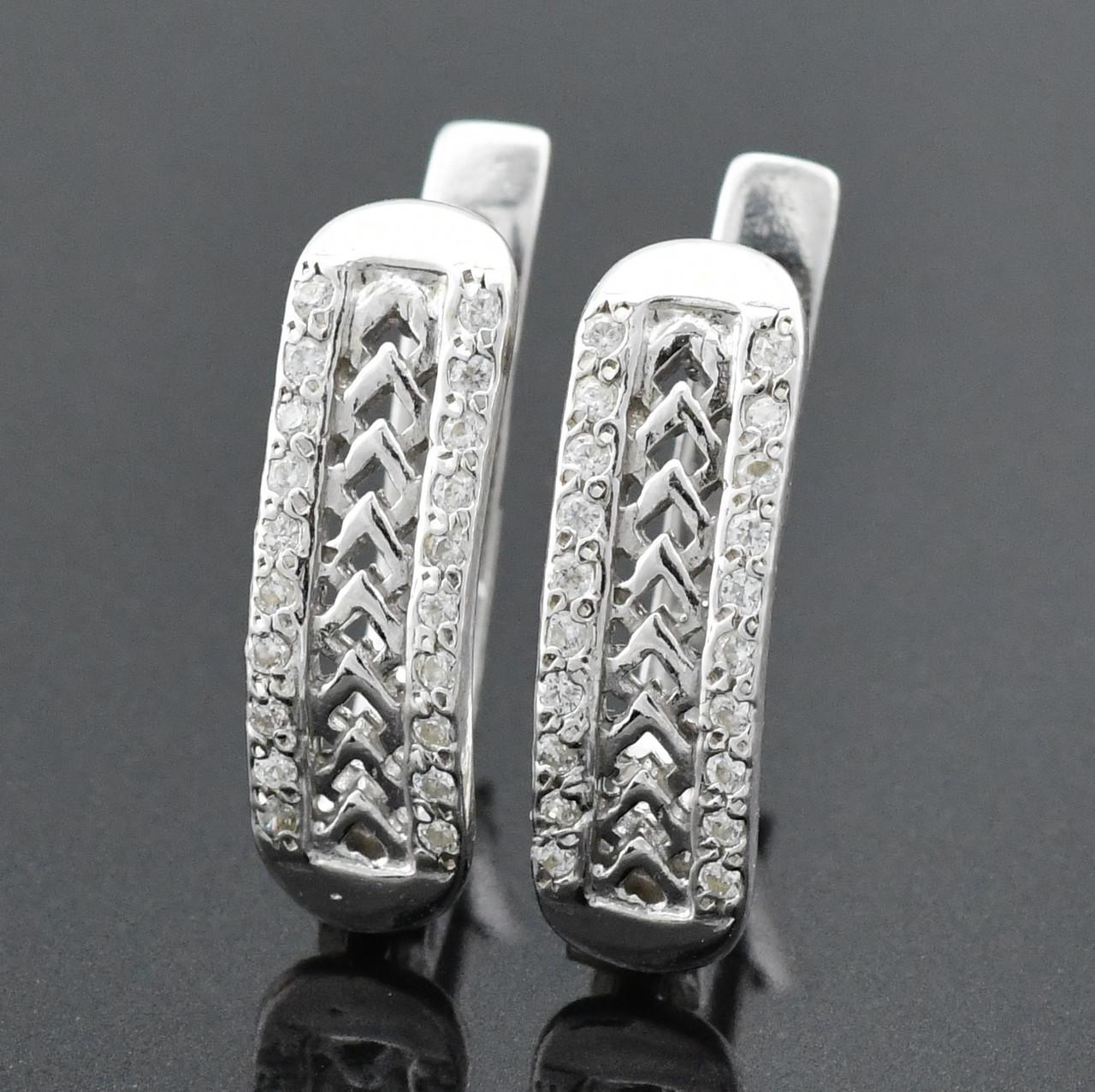 """Серебряные серьги """"Відродження"""", размер 20*9 мм, вставка белые фианиты, вес 3.59 г"""