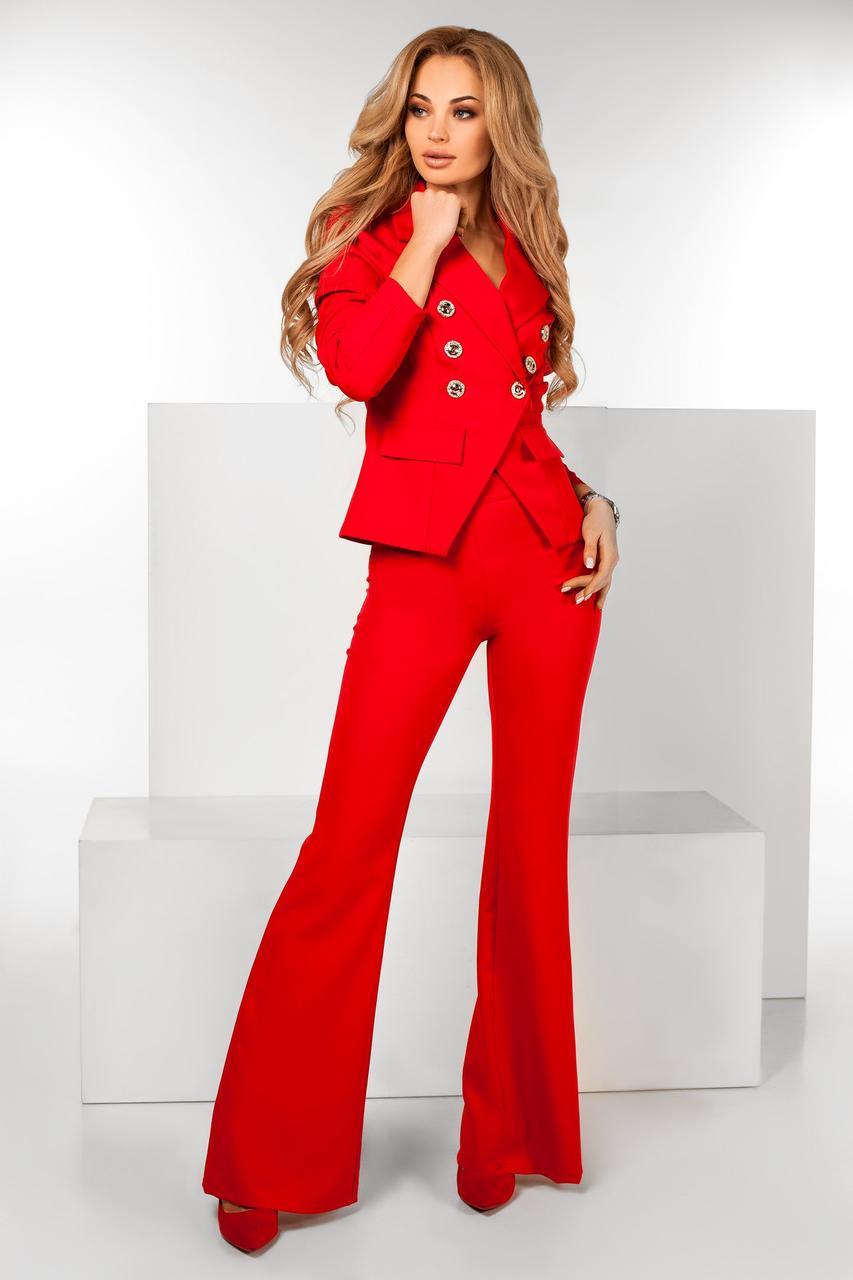 03f33e0bf7c Женский красный костюм пиджак и брюки клеш -