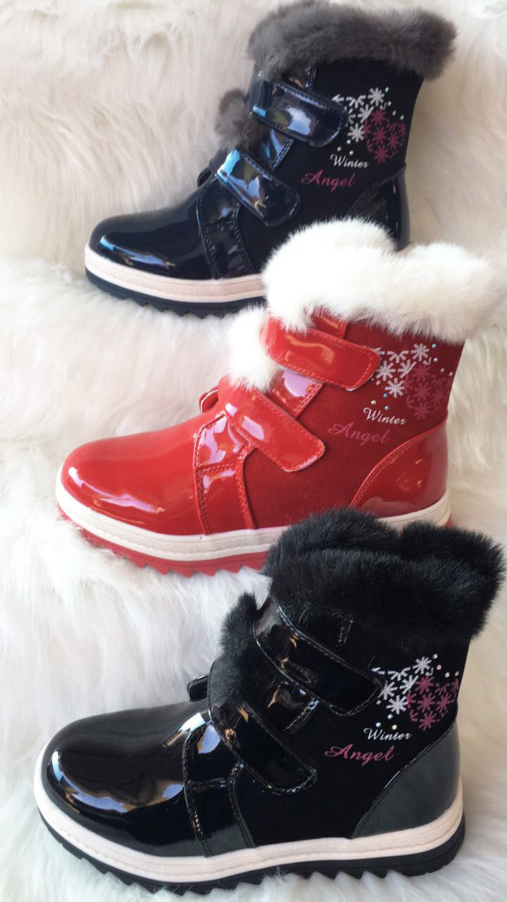 Модные зимние ботинки для девочки с натуральной опушкой, 33-37