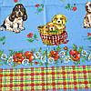 Готовое вафельное полотенце Новогоднее с собачками на голубом и украинским орнаментом  47х70 см