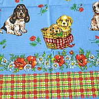 Готовое вафельное полотенце Новогоднее с собачками на голубом и украинским орнаментом  47х70 см, фото 1