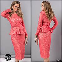 Вечернее гипюровое платье кораллового цвета с длинным рукавом. Модель 16431. Размеры укр 48-54.