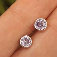 Серьги гвоздики с лиловыми камнями Серебро 925 - Пусеты сиреневые даим. 5 мм