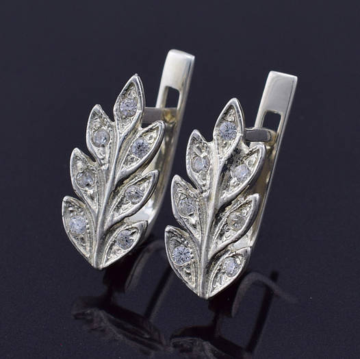 """Серебряные серьги """"Колосок"""", размер 16*8 мм, вставка белые фианиты, вес 3.01 г"""
