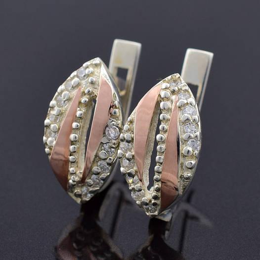 """Серебряные серьги с золотыми пластинами """"Милиса"""", размер 14*8 мм, серебро 3.32 г, золото 0.05 г"""
