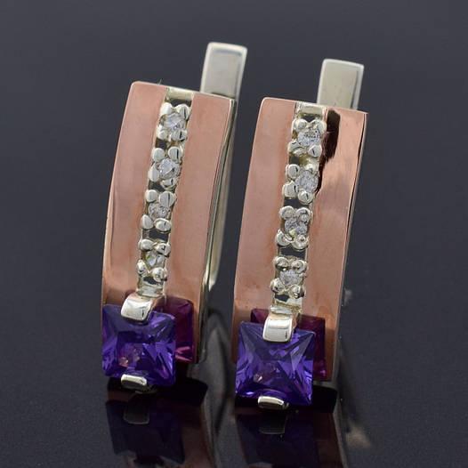 """Серебряные серьги с золотыми пластинами """"Иллюзия"""", размер 19*7 мм,серебро 5.1 г,золото 0.1 г, фиолетовые камни"""