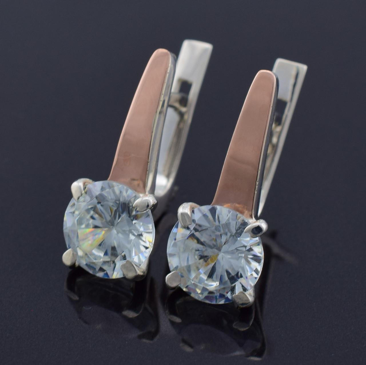 """Серебряные серьги с золотыми пластинами """"Кристалл"""", размер 19*8 мм, вставка белые фианиты, вес 4.3 г"""
