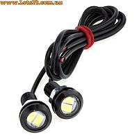 2шт LED линзы 18мм 3W 5730 SMD (дневные ходовые огни светодиодные, ДХО, DRL, орлиный глаз)