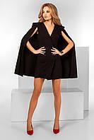 Женское короткое черное  платье-пиджак