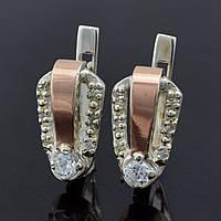 """Серебряные серьги с золотыми пластинами """"Канди"""", размер 15*9 мм, вставка белые фианиты, вес 3.65 г"""