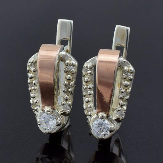 """Серебряные серьги с золотыми пластинами """"Канди"""", размер 15*9 мм, серебро 3.65 г, золото 0.1 г"""