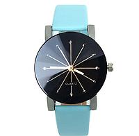 Наручные кварцевые часы с голубым ремешком код 153