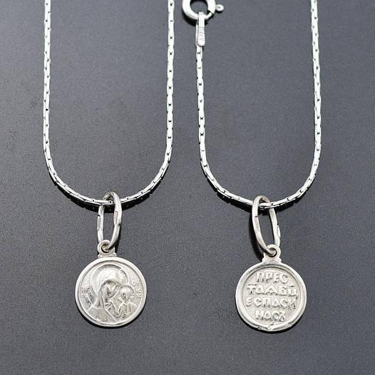 Серебряный набор Богородица, цепочка 45*0.1 см + иконка 1.9*1 см, вес серебра 3.22 г
