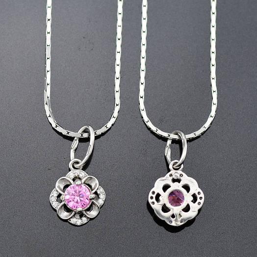 Серебряный набор Камалия, цепочка 45*0.1 см + кулон 2*1.1 см, вес серебра 4.58 г, розовый фианит