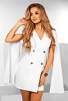 Женское нарядное белое короткое платье