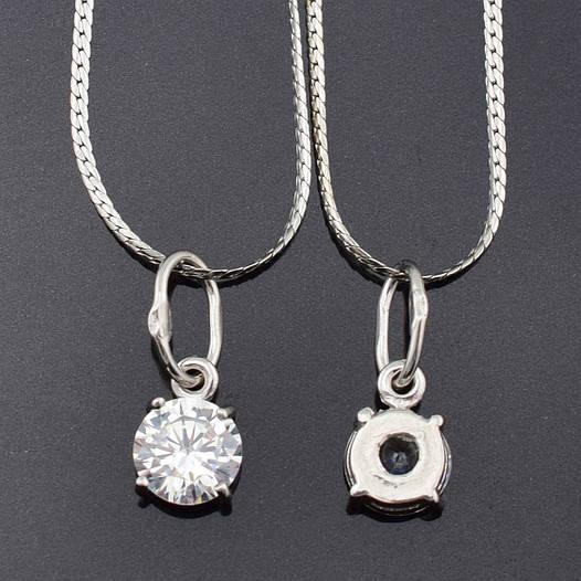 Серебряный набор 3067 цепочка 45*0.1 см + кулон 1.7*0.7 см, вес серебра 2.82 г