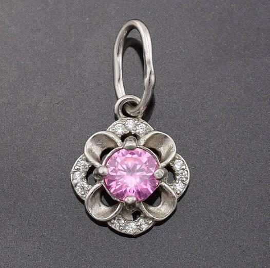 """Серебряный кулон """"Камалия"""", размер 20*11 мм, вес серебра 1.29 г, розовый и белые фианиты"""