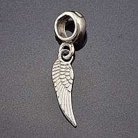 """Серебряный шарм """"Крылья"""", размер 25*5 мм, вес серебра 1.09 г"""