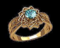 Цветение кольцо женское с камнем
