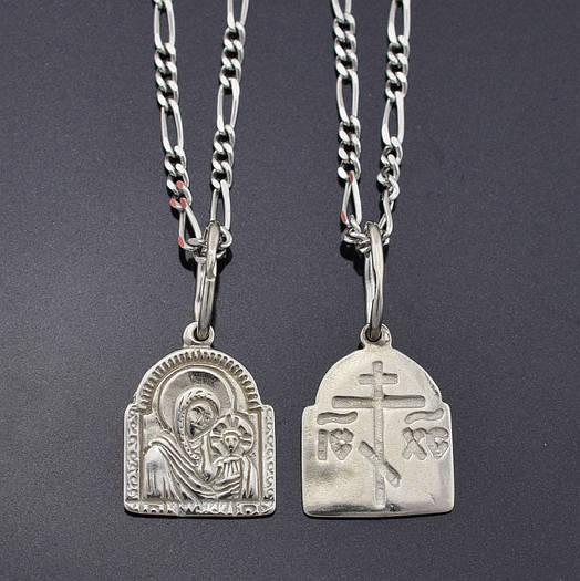 Серебряный набор, цепочка 45*0.1 см + иконка 2.2*1.1 см, вес серебра 3.92 г