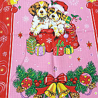 Копия Готовое вафельное полотенце Новогоднее с собачками на розовом  47х70 см, фото 1