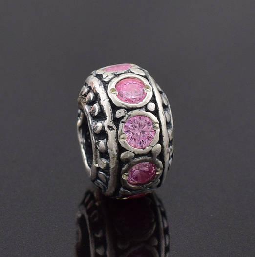 """Серебряный шарм """"Намистина"""", размер 10*7 мм, вес 2.76 г, розовые фианиты"""