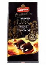 Черный  шоколад Спартак с миндалем , 90 гр