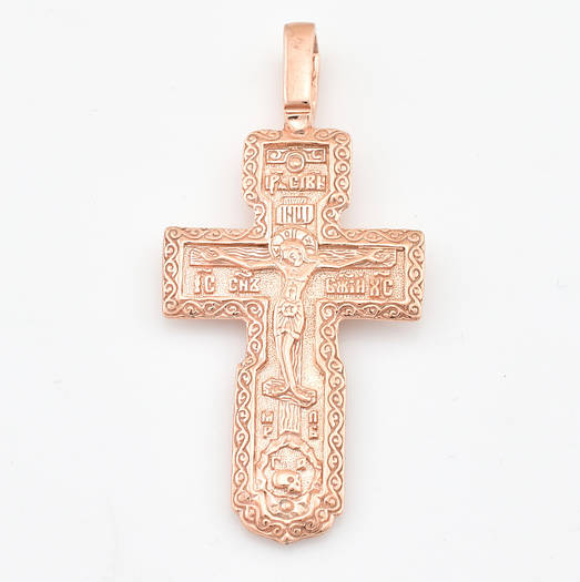 Серебряный крестик позолоченный 3421-З, размер 42*22 мм, вес 4.89 г