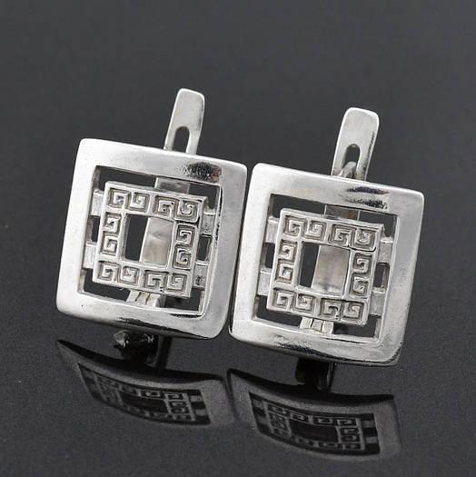 """Серебряные серьги """"Империя"""", размер 13*12 мм, вставка белые фианиты, вес 3.63 г"""