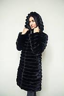 Черная женская норковая шуба-трансформер
