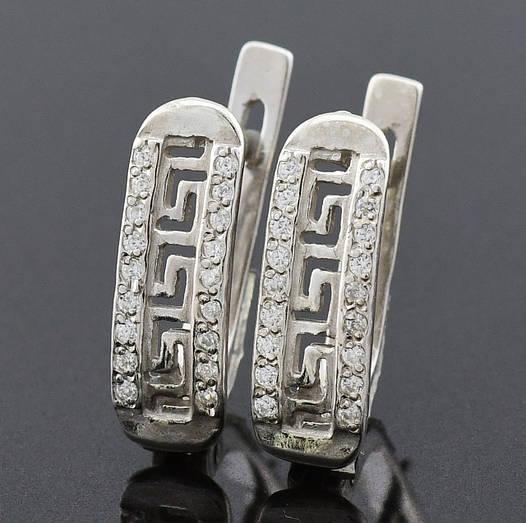 """Серебряные серьги """"Відродження №2 """", размер 16*5 мм, вставка белые фианиты, вес 2.43 г"""