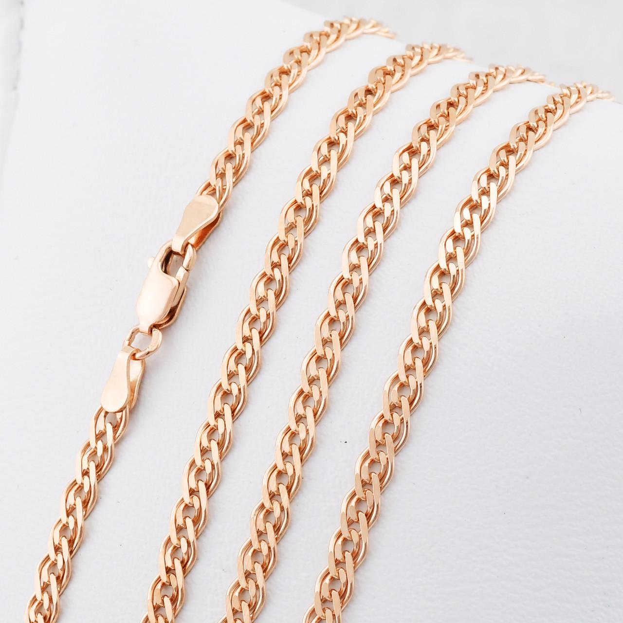 "Серебряная цепочка позолоченная ""Нонна"", ширина 3.5 мм, вес 9.04 г, длина 50 см"