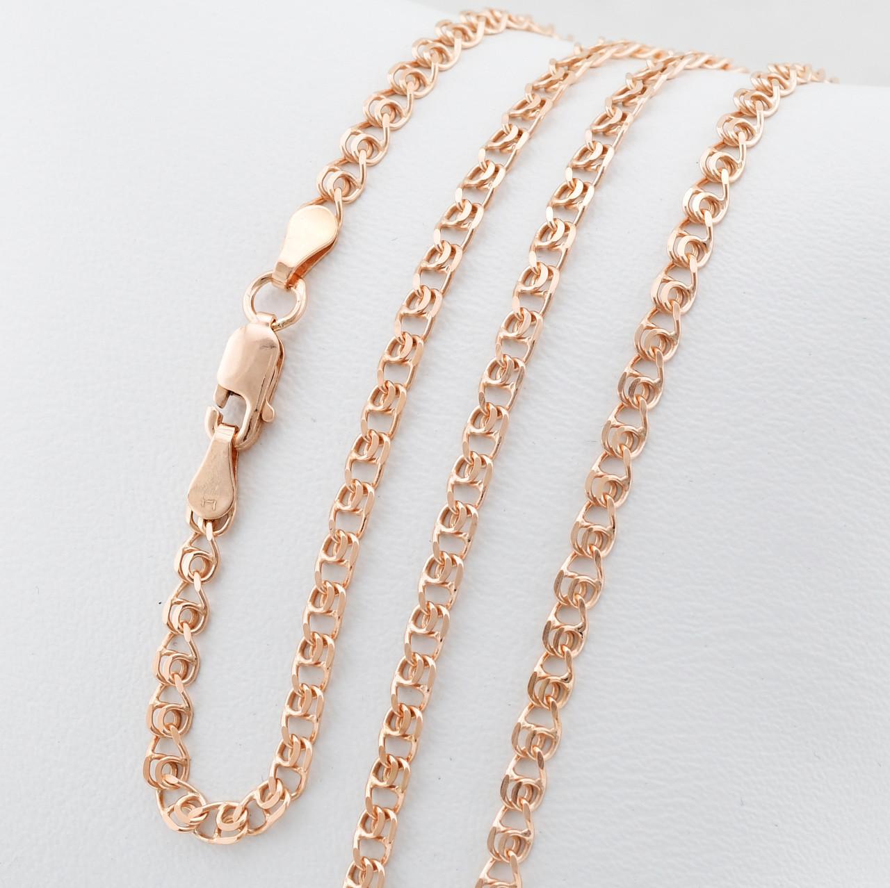 """Серебряная цепочка позолоченная """"Love"""", ширина 3 мм, вес 5.56 г, длина 50 см"""