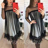 Свободное платье - трапеция из фатина и сетки 403566