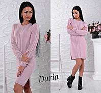 Прямое вязаное платье с узорной вязкой 5503575